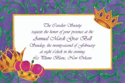 Custom Mardi Gras Crowns Invitations