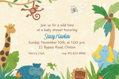 Cute Jungle Animals Custom Invitation