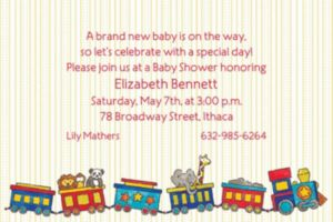 Custom Little Trains Baby Shower Invitations