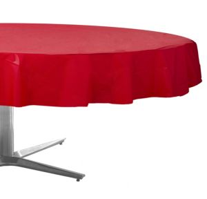 Red Plastic Round Table Cover