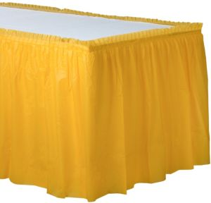 Sunshine Yellow Plastic Table Skirt