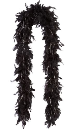 Black with Silver Tinsel Feather Boa 72in