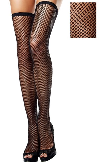 Adult Classic Black Fishnet Thigh High Stockings