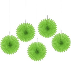 Kiwi Green Mini Paper Fan Decorations 5ct