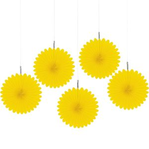 Sunshine Yellow Mini Paper Fan Decorations 5ct