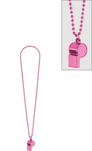 Hot Pink Party Beads with Whistle