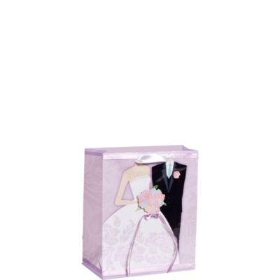3D Bride and Groom Lavender Gift Bag