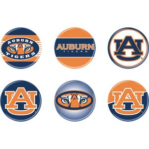Auburn Tigers Buttons 6ct