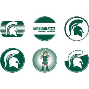 Michigan State Spartans Buttons 6ct
