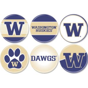 Washington Huskies Buttons 6ct