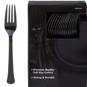 Big Party Pack Black Premium Plastic Forks 100ct