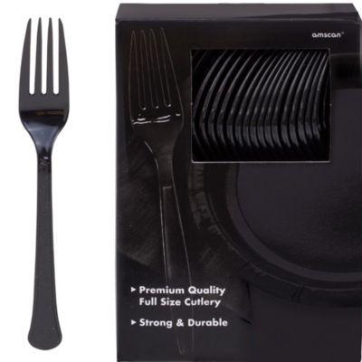 Black Premium Plastic Forks 100ct