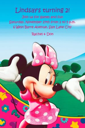 Custom Minnie Mouse Clubhouse Invitations