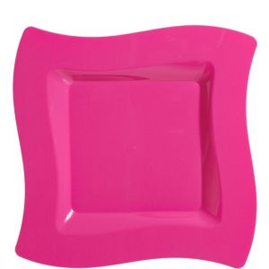 Bright Pink Premium Plastic Wavy Square Dinner Plates 10ct
