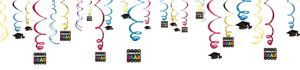 Multicolor Graduation Swirl Decorations 50ct