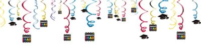 Multicolor Graduation Swirl Decorations 50ct