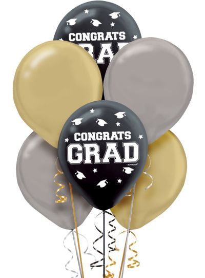 Black Gold Amp Silver Graduation Balloons 72ct Party City