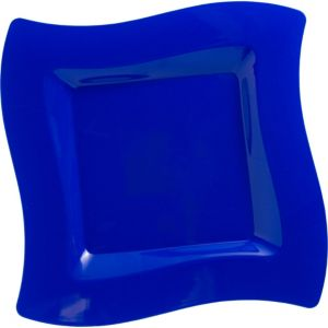 Royal Blue Premium Plastic Wavy Dinner Plates 10ct