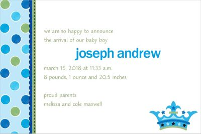 Custom Little Prince Birth Announcements