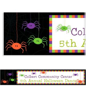 Custom Spider Frenzy Halloween Banner 6ft