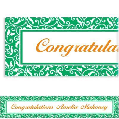 Festive Green Ornamental Scroll Custom Banner