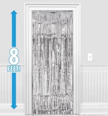 sc 1 st  Party City & Silver Fringe Doorway Curtain 3ft x 8ft   Party City