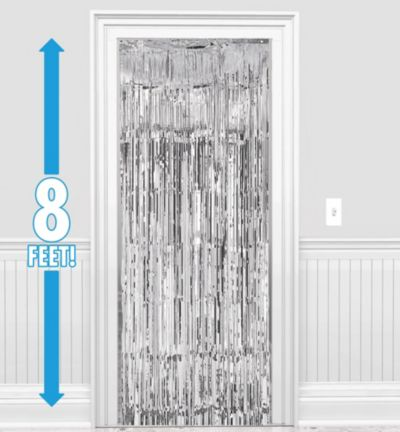 Silver Fringe Doorway Curtain 3ft x 8ft | Party City