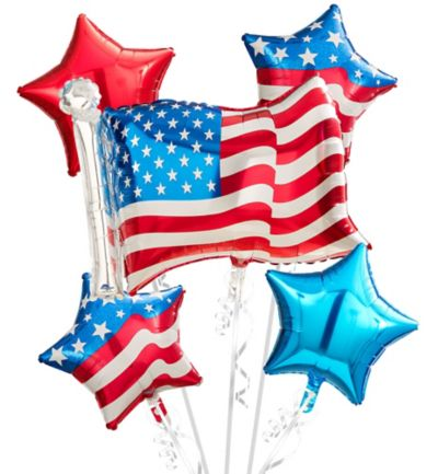 American Flag Balloon Bouquet 5pc