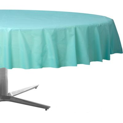 Robin's Egg Blue Plastic Round Table Cover