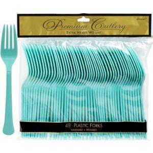 Robin's Egg Blue Premium Plastic Forks 48ct
