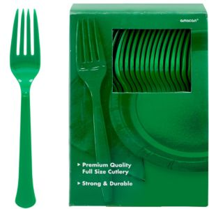 Big Party Pack Festive Green Premium Plastic Forks 100ct