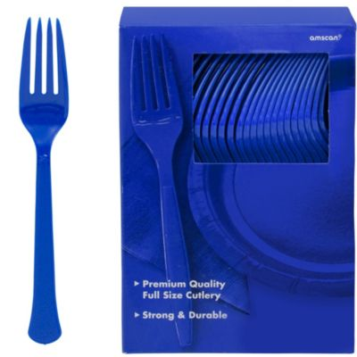 Royal Blue Premium Plastic Forks 100ct