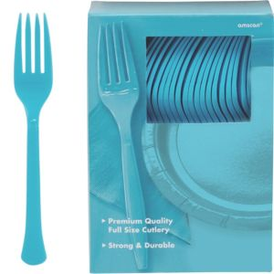 Big Party Pack Caribbean Blue Premium Plastic Forks 100ct