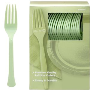 Big Party Pack Leaf Green Premium Plastic Forks 100ct