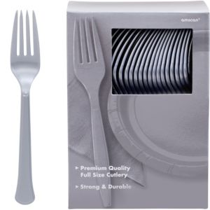 Big Party Pack Silver Premium Plastic Forks 100ct
