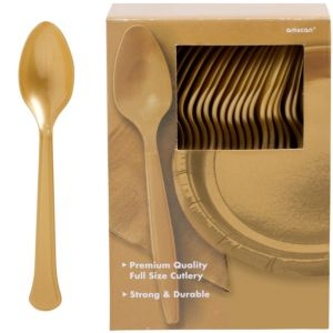 Big Party Pack Gold Premium Plastic Spoons 100ct