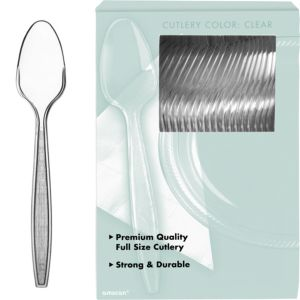 Big Party Pack CLEAR Premium Plastic Spoons 100ct
