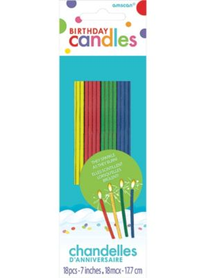 Tall Multicolor Sparkler Birthday Candles 18ct Party City