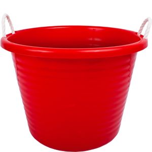 Red Plastic Tub with Rope Handles