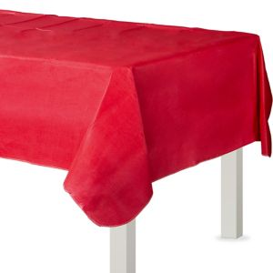 Red Flannel-Backed Vinyl Tablecloth