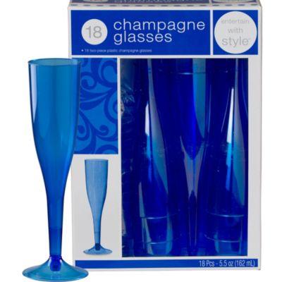 Royal Blue Premium Plastic Champagne Flutes 18ct