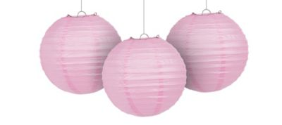 Light Pink Paper Lanterns 9 1/2in 3ct