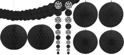 Black Damask Party Decorating Kit 9pc