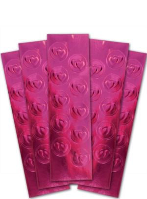 Bright Pink Heart Metallic Envelope Seals 50ct