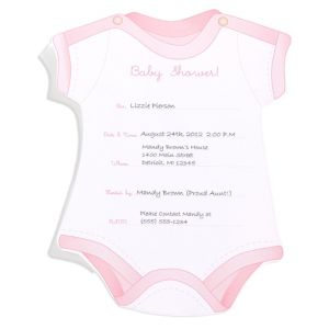 Snapsuit Girl Baby Shower Invitations 12ct