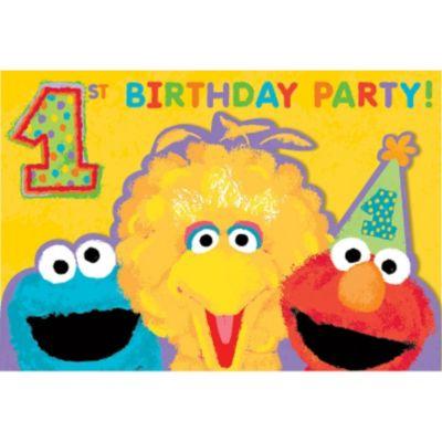 1st Birthday Sesame Street Invitations 20ct