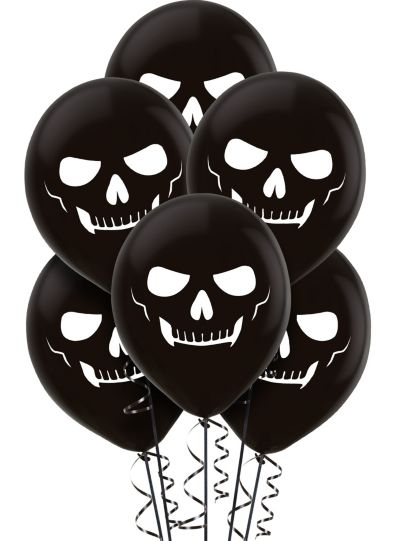 Black Skeleton Balloons 15ct