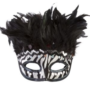 Zebra Feather Masquerade Mask