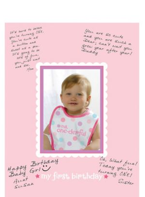 Pink 1st Birthday Autograph Photo Frame