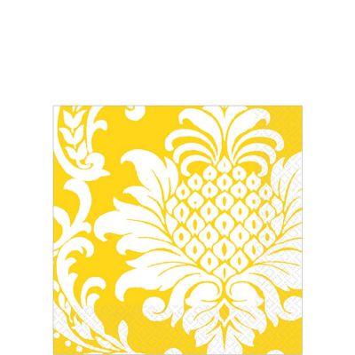 Yellow Damask Beverage Napkins 16ct